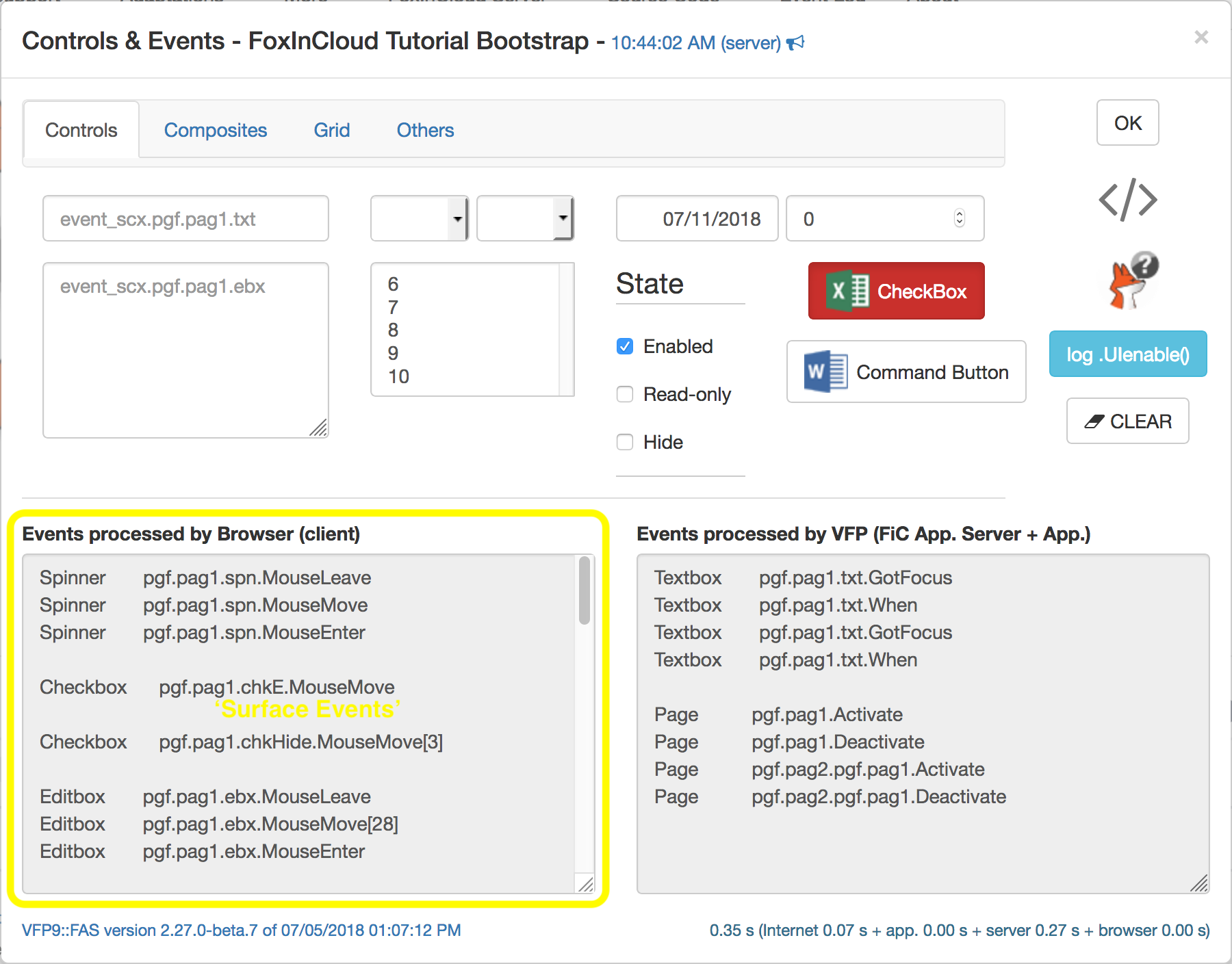 Surface Events In FoxInCloud Live Tutorial's 'Controls and Events' form