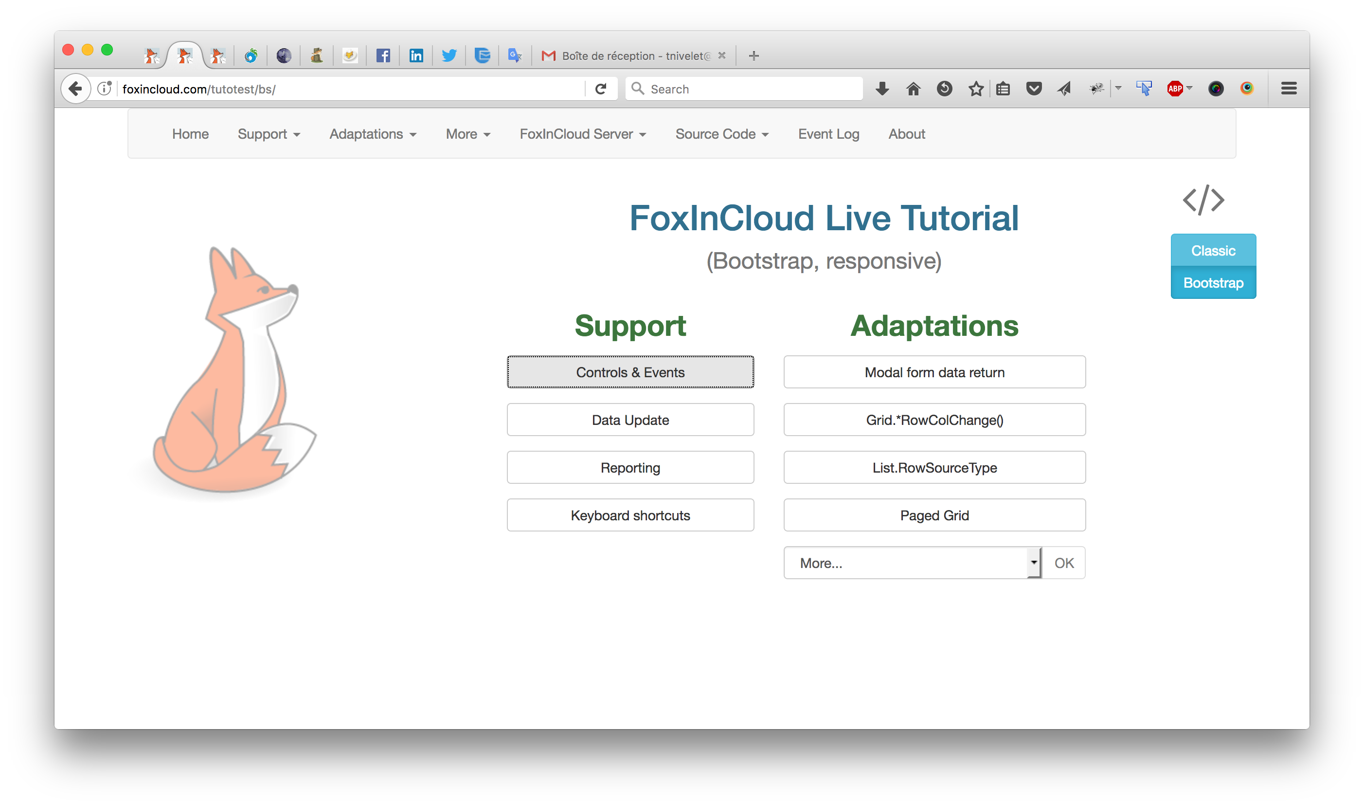 FoxInCloud Live Tutorial in Bootstrap responsive mode